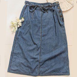 Vintage 90s Denim Midi Skirt Tie Waist Button Side